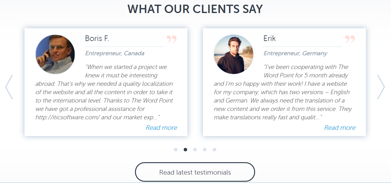 Testimonials on the website