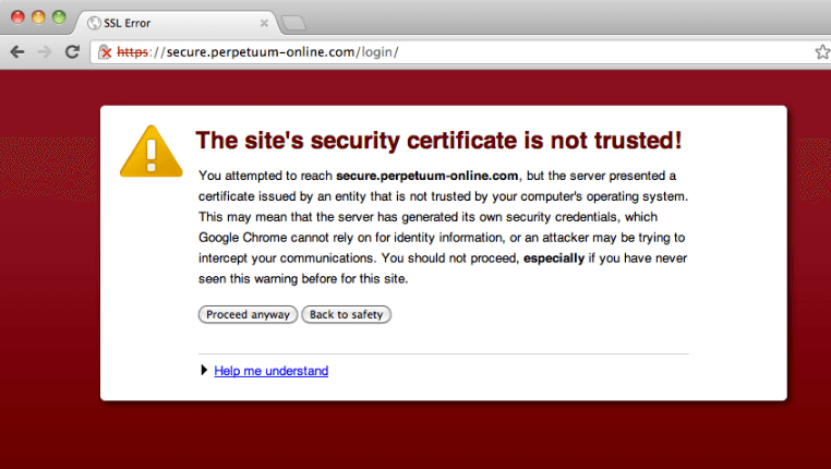Browser warning of incorrect SSL certificate