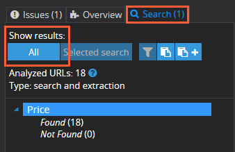 'All' button to show all custom search results of price scraping in Netpeak Spider