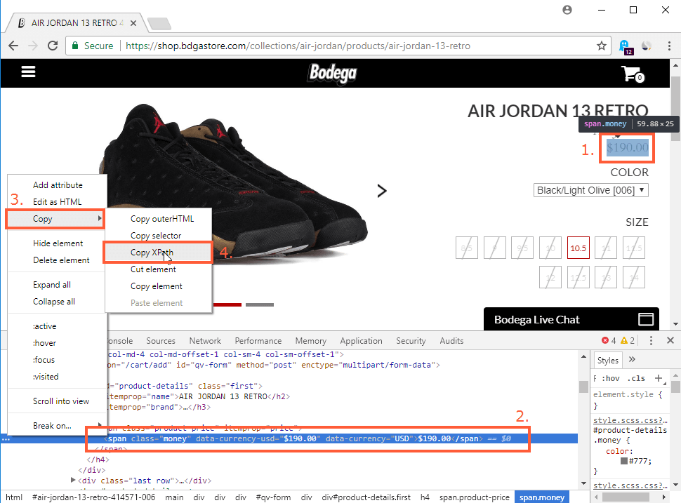How to copy XPath to parse prices in online stores