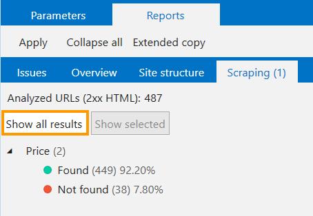 Scraping results in Netpeak Spider