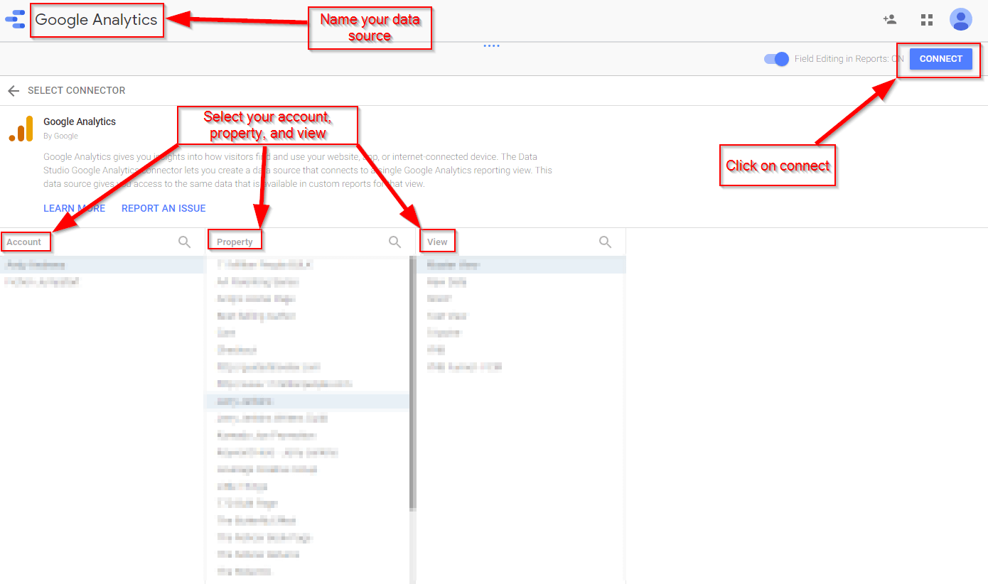 Connecting Google Analytics to your report 2