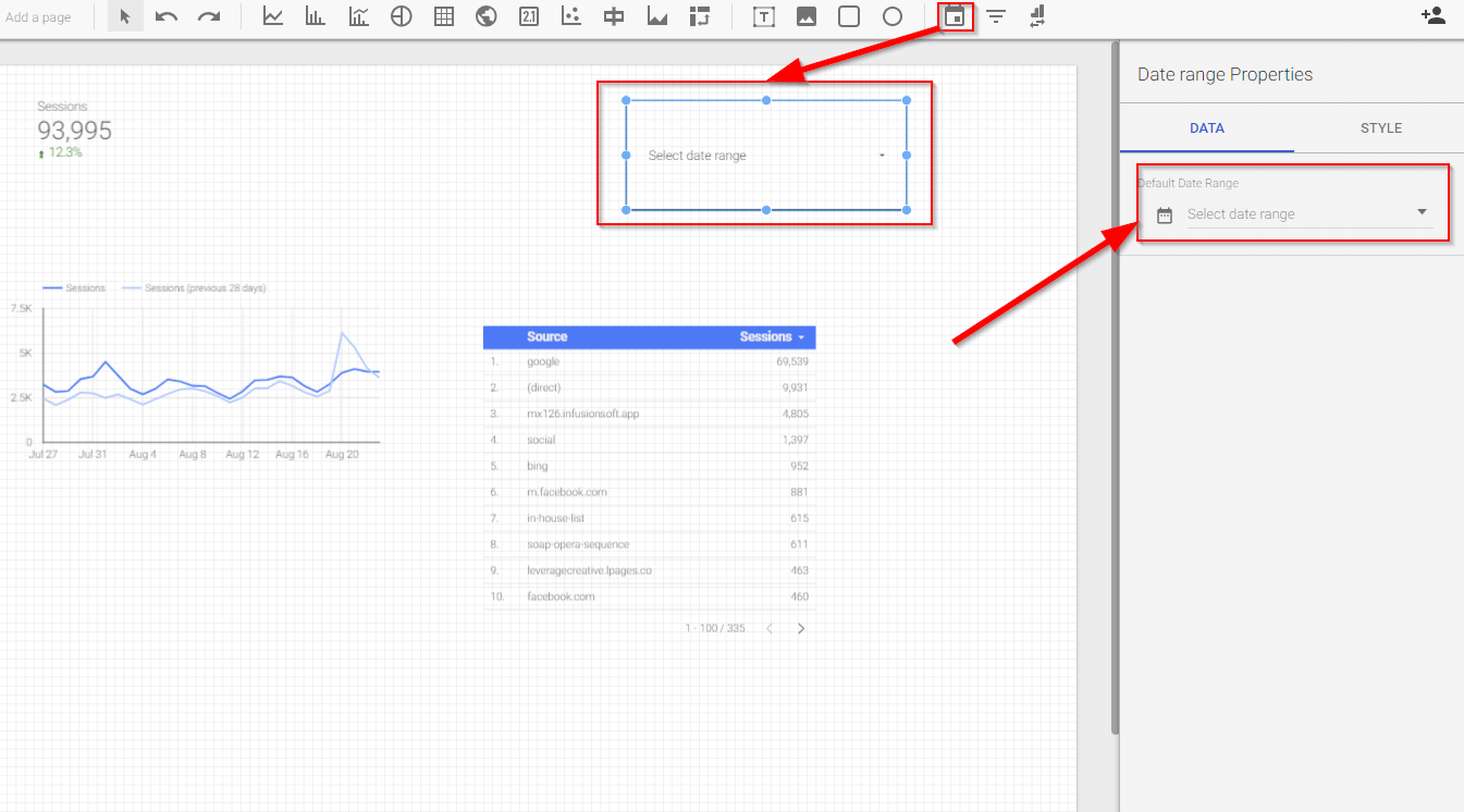 Date slicer in Google Data Studio