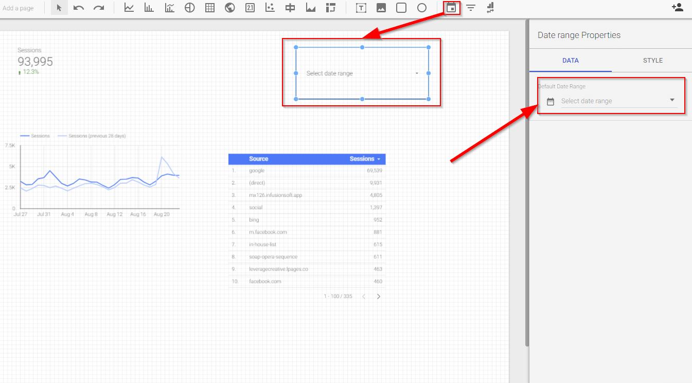 Date slicer in Google Data Studio
