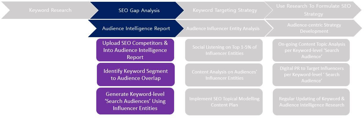 Keyword intelligence and audience intelligence process