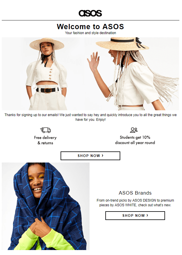 ASOS welcome letter