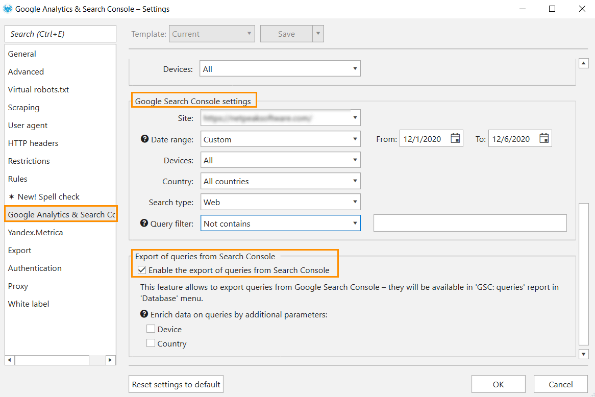How to set export of queries from Google Search Console in Netpeak Spider