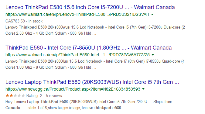 Search results with schema markup and without it