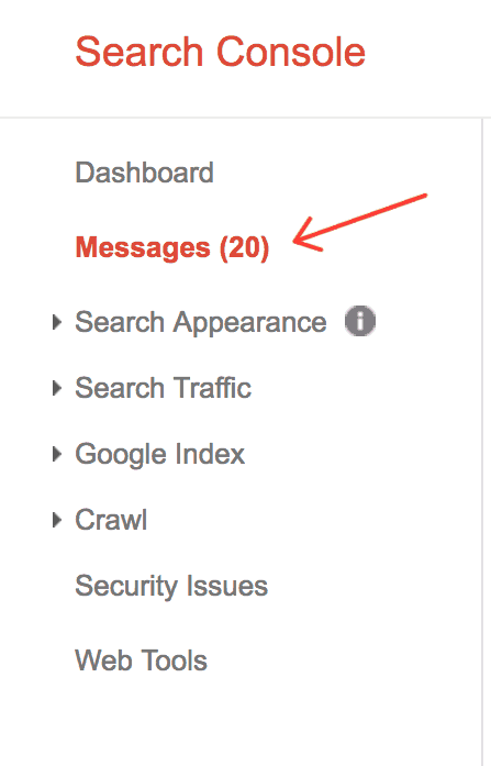 Messages tab in Google Search Console