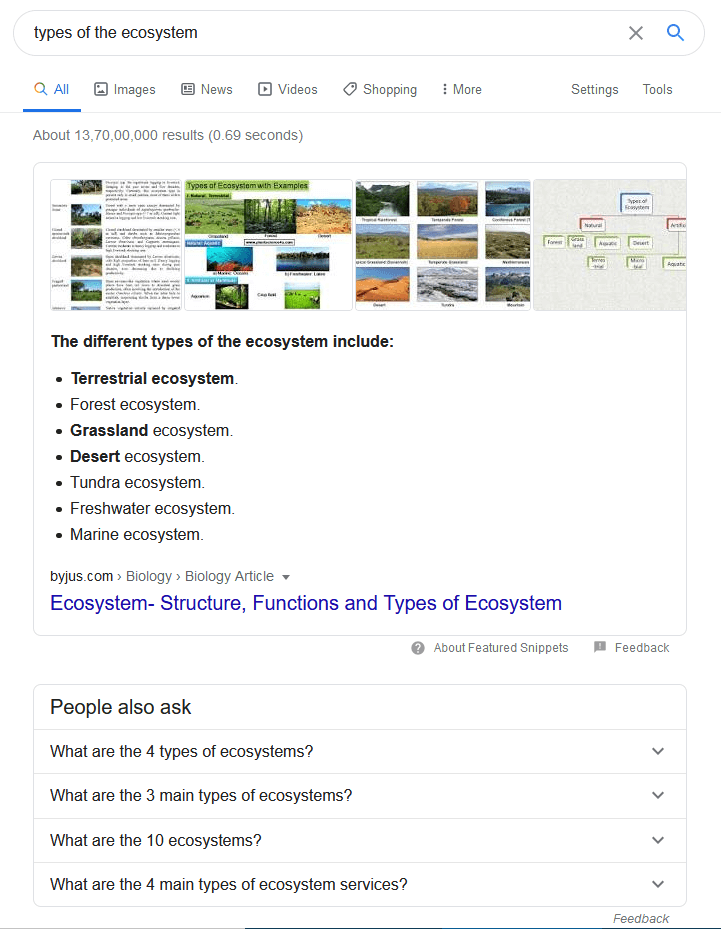 Sample search for the keyword 'types of the ecosystem'