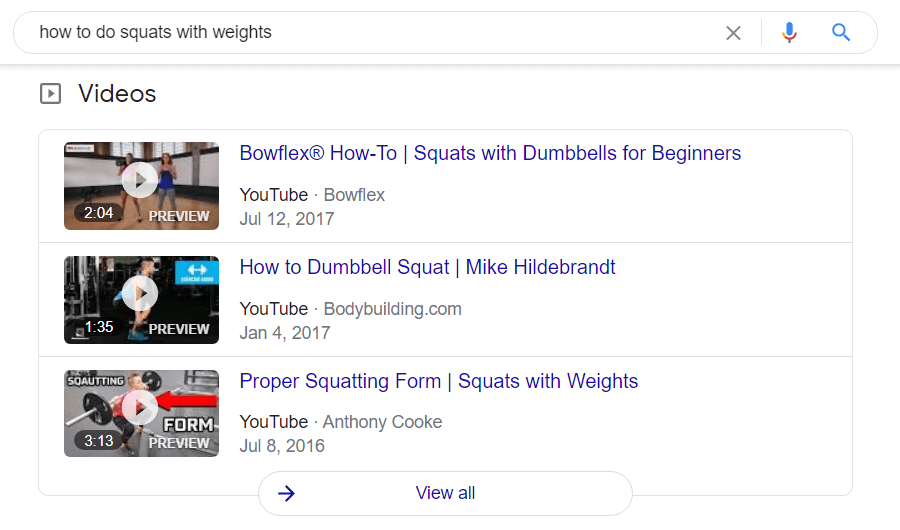 Example of video featured in the SERP
