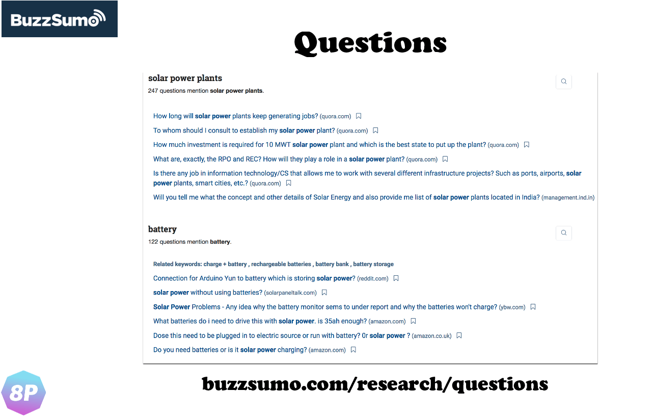 Questions service in BuzzSumo