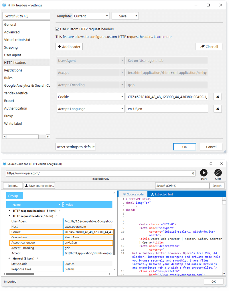 On the 'HTTP headers' settings tab, set your own headers, open the 'Source Code and HTTP headers analysis' tool, enter the URL you need and see how the crawler will request the server with the given headers