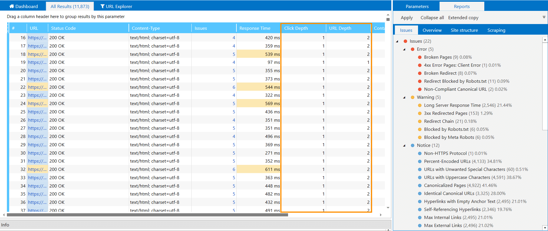 Checking click depth using Netpeak Spider