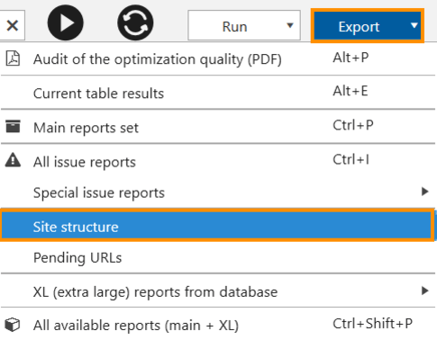 Export the 'Site structure' report in Netpeak Spider