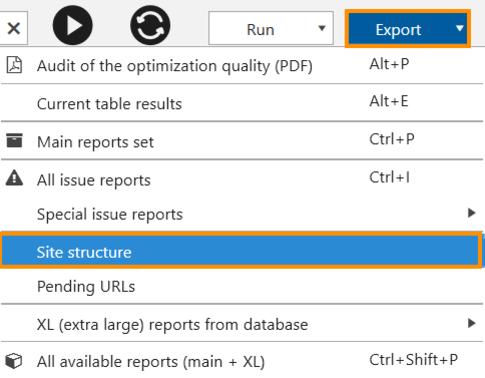 Export the 'Site structure' report in Netpeak Spider