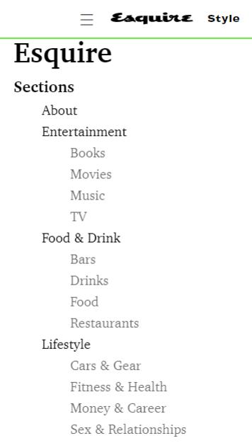 HTML sitemap on Esquire website