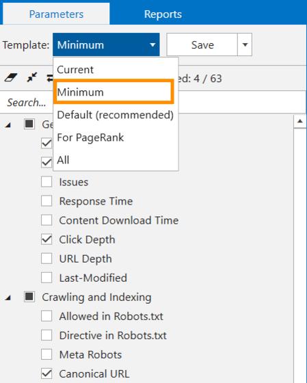 Minimum template in Netpeak Spider