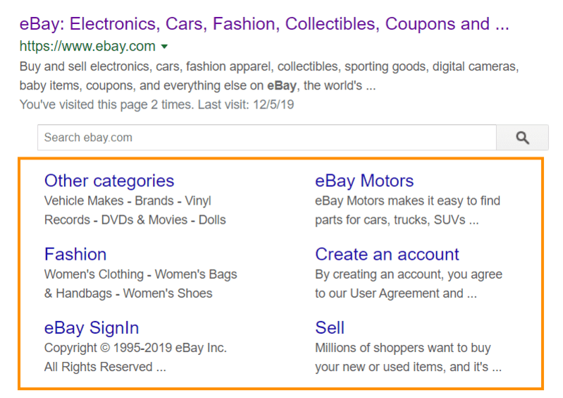 Sitelinks in the snippet of Ebay store