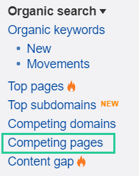 Competing pages in Ahrefs