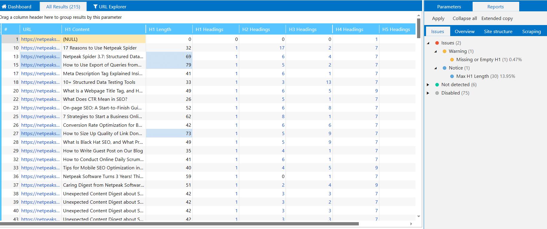 Database table in Netpeak Spider