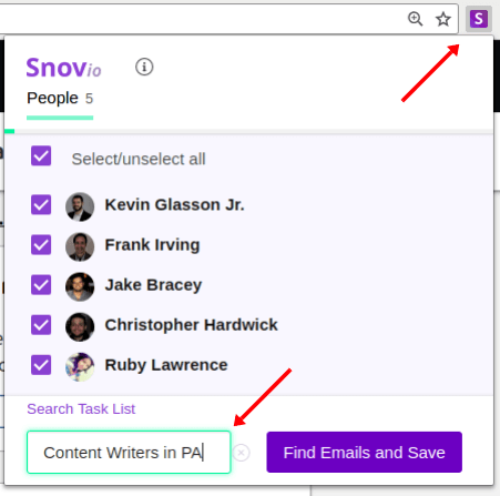 Creating list of contacts in email finder