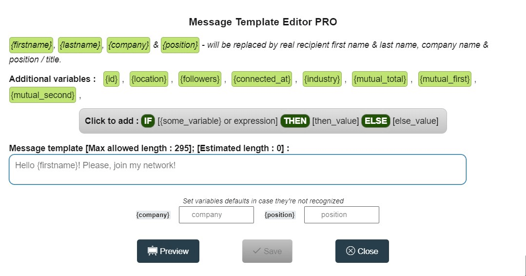 Message template editor in Linked Helper