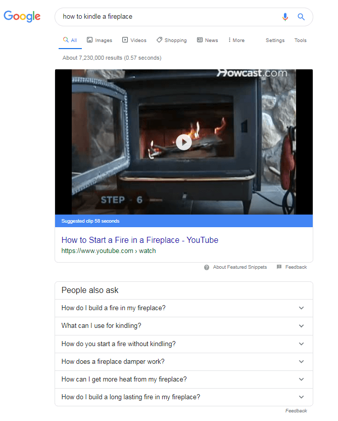 Video featured snippet can appear on a search engine results page