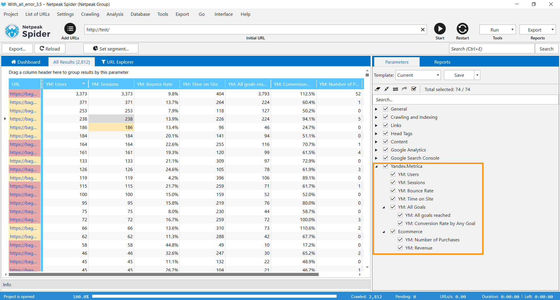 Select Yandex.Metrica parameters on the sidebar of Netpeak Spider 3.5, run the analysis, and you will see the data in the corresponding columns of the main table