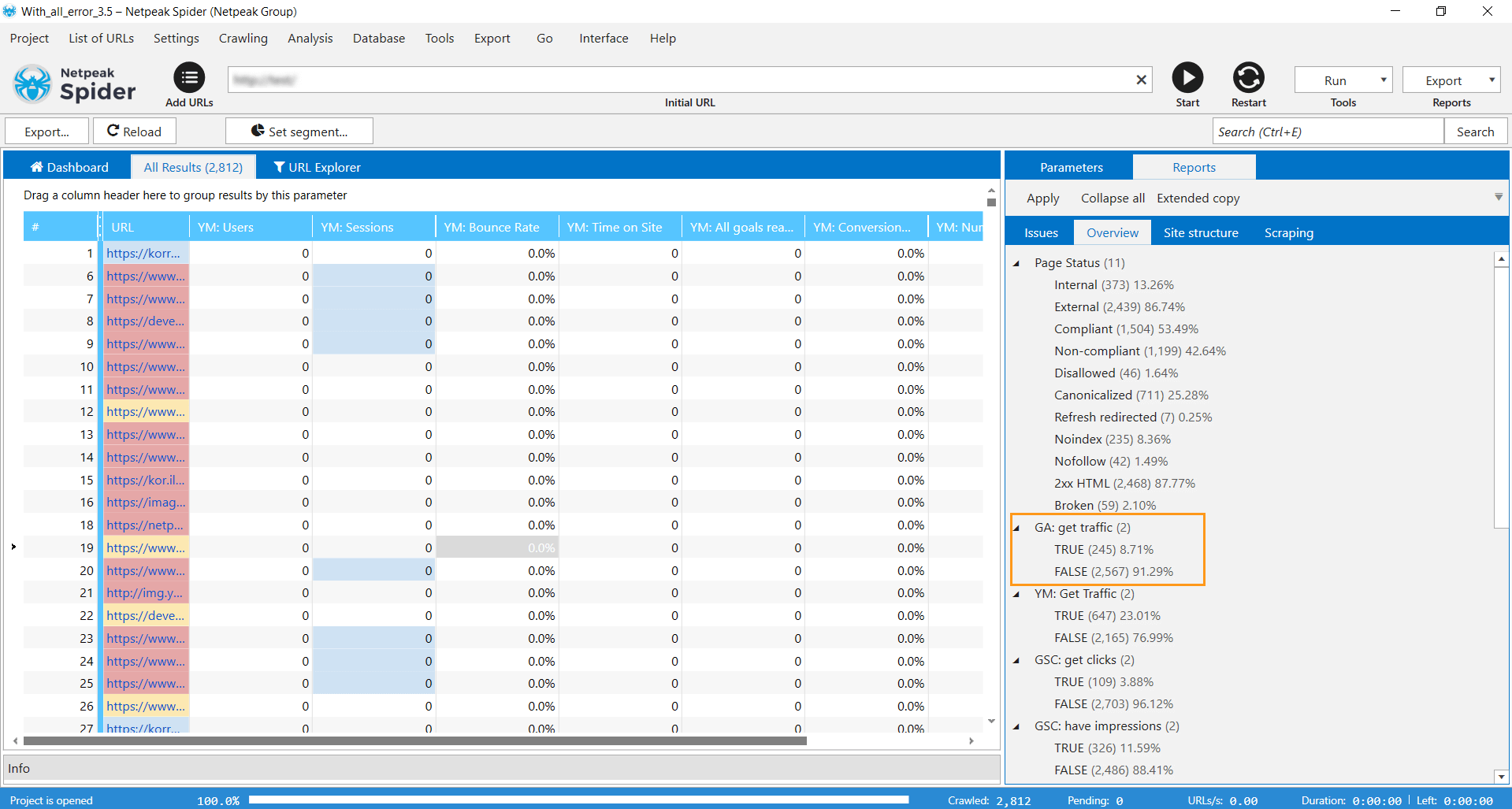 The 'Overview' tab in Netpeak Spider 3.5 displays new default filters – you can see if pages receive traffic according to Yandex.Metrica data or not