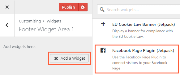 Adding Facebook Page Plugin in Jetpack