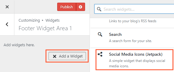 Adding Social Icons via Jetpack Plugin
