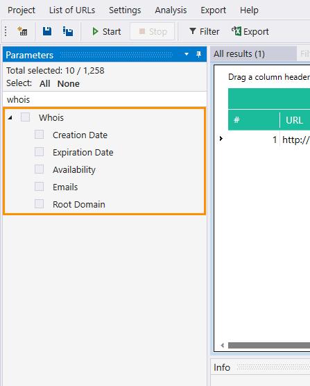 WHOIS section in Netpeak Checker