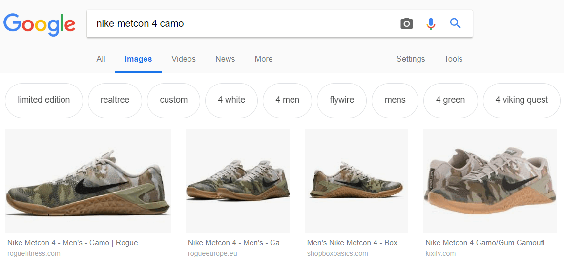 Product information in Google images