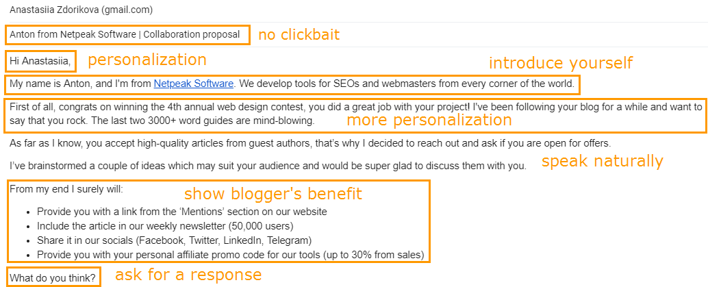 Example of outreach letter for guest post