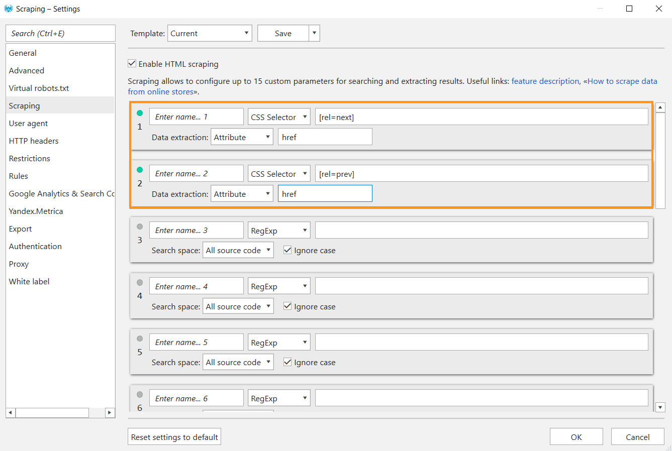 Go to 'Scraping' settings in Netpeak Spider to check old-type pagination markup