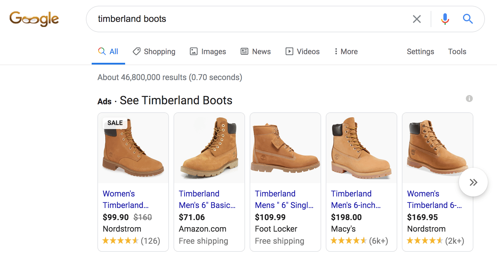 Here's what a typical Google Shopping ad looks like