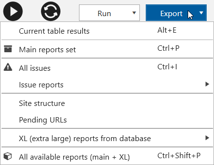 Netpeak Spider 3.1: new report export menu