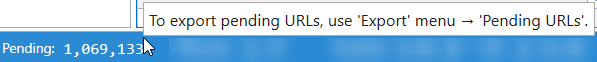 Netpeak Spider 3.1: info about pending URLs on the status bar