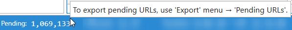 Netpeak Spider 3.1: info about pending URLs on the status bar