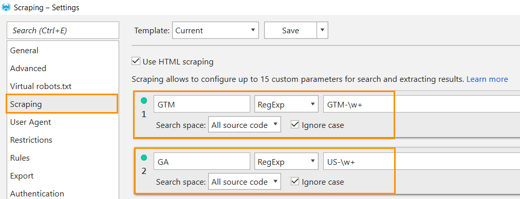 Custom Search and Extractions in Netpeak Spider for GA and GTM codes