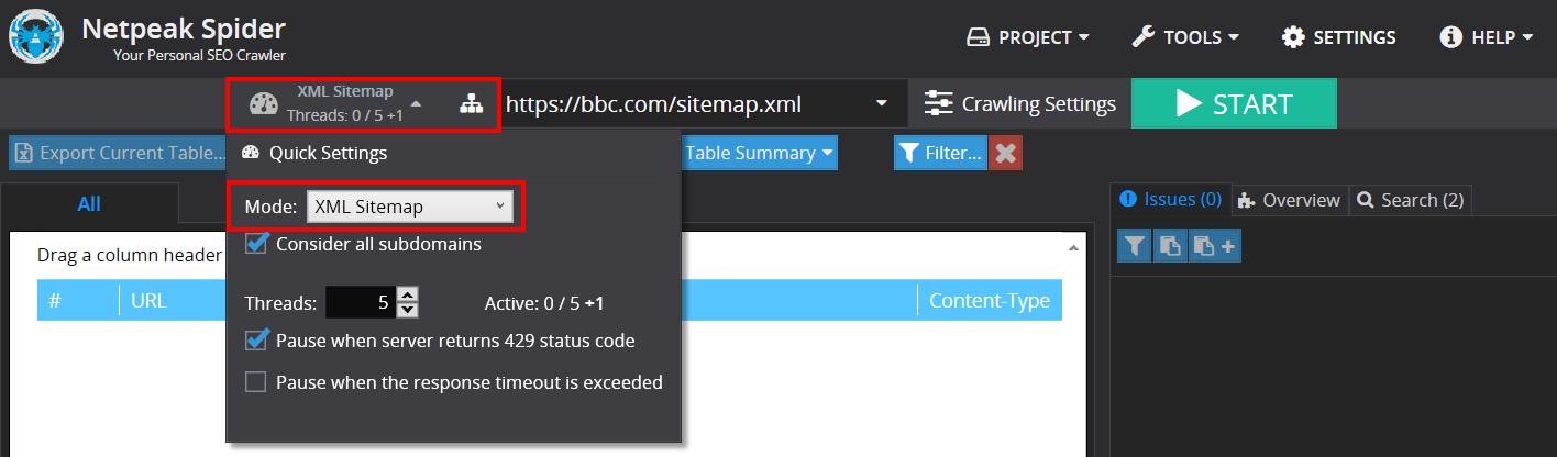 XML Sitemap mood in Netpeak Spider