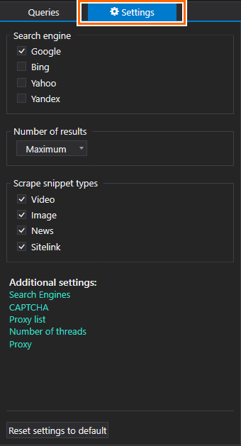 Netpeak Checker. Go to the Settings, select the search engine, number of results and the type of snippet
