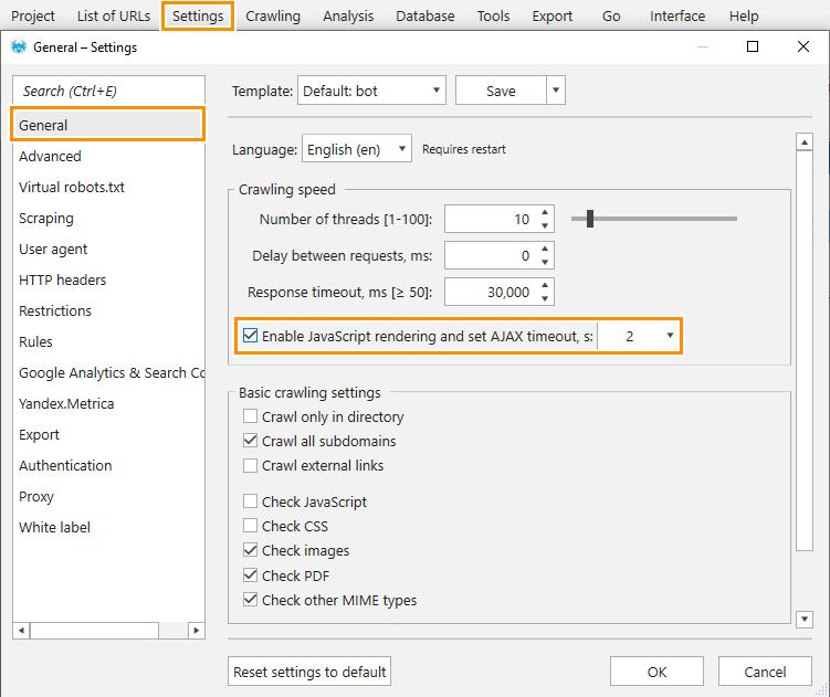 How to enable JavaScript rendering in Netpeak Spider crawler