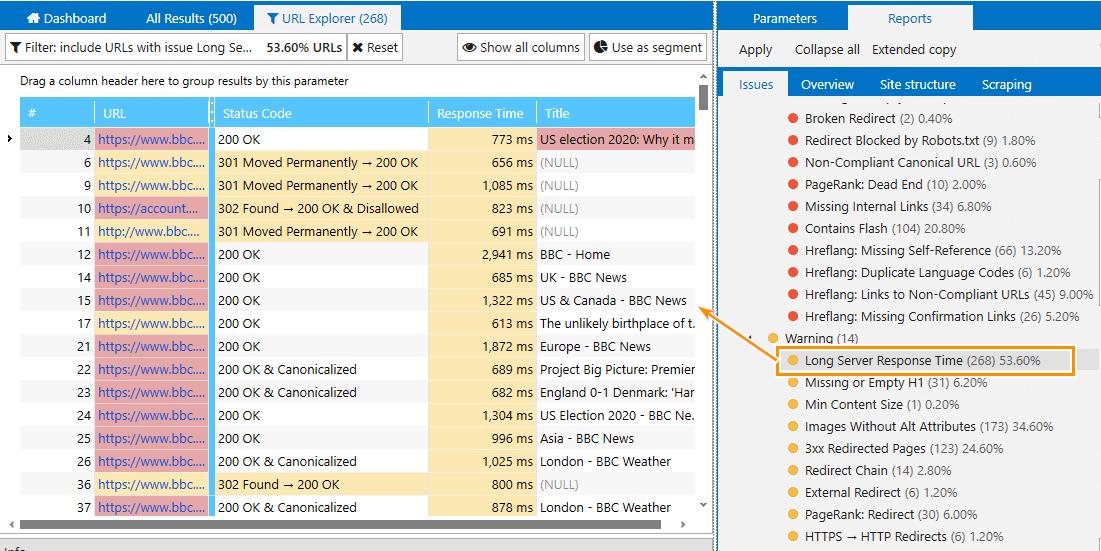 Reports on the server response speed in Netpeak Spider