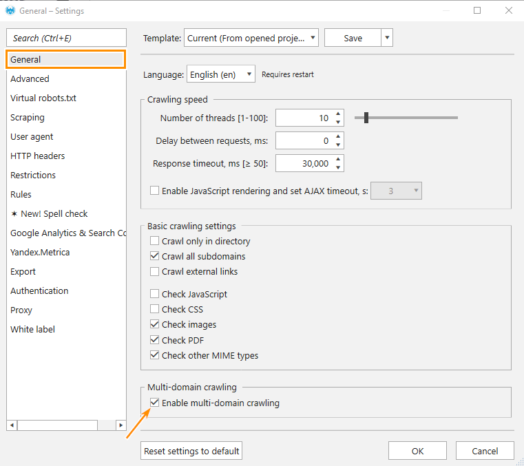 How to enable multi-domain crawling in Netpeak Spider