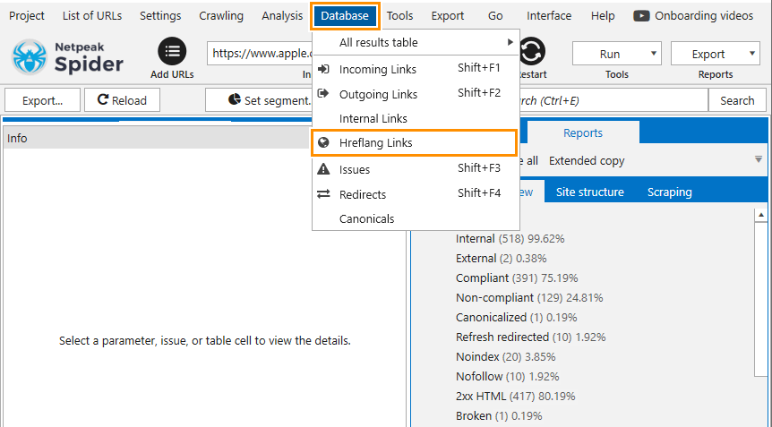 How to open a separate report on links from the hreflang tag in Netpeak Spider
