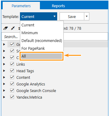 How to enable all parameters in Netpeak Spider