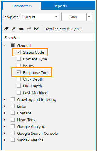 The parameters that need to be enabled for speed audit in Netpeak Spider