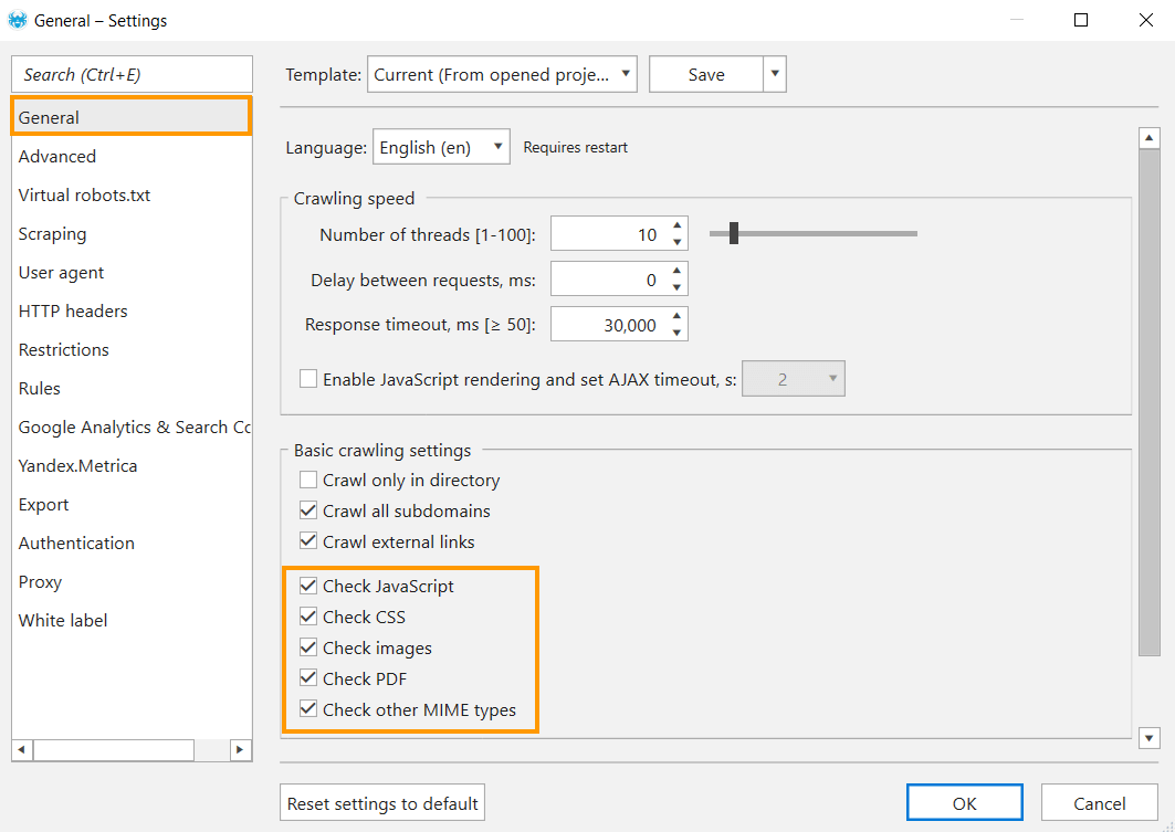 How to enable crawling of service pages and files in Netpeak Spider